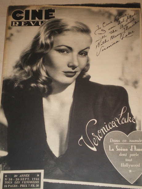 CINE REVUE magazine, 20 September 1946 issue for sale. VERONICA LAKE. Original Belgian, French Langu