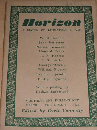 HORIZON magazine, March 1940 issue for sale. BETJEMAN, CONNOLLY, SPENDER, AUDEN, SUTHERLAND, ORWELL.