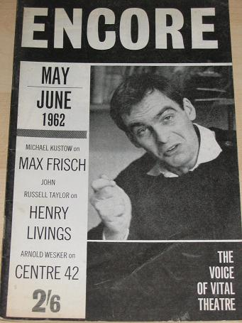 ENCORE magazine, May - June 1962 issue for sale. LIVINGS, WESKER. Vintage THEATRE publication. Class