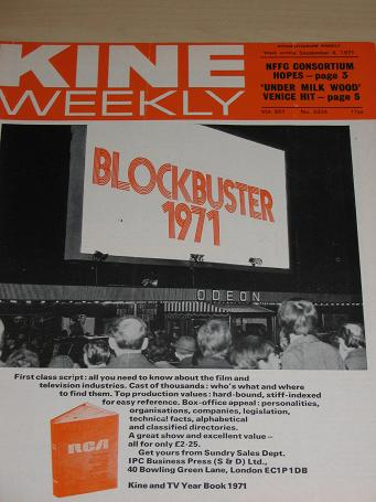 KINE WEEKLY magazine Sept. 4 1971. Vintage BRITISH FILM INDUSTRY trade publication for sale. Classic