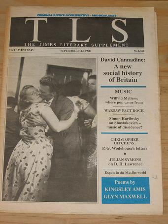 WODEHOUSE HITCHENS TIMES LITERARY SUPPLEMENT SEPTEMBER 7-13 1990 BACK ISSUE FOR SALE VINTAGE LITERAR