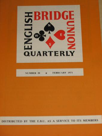 ENGLISH BRIDGE UNION QUARTERLY magazine Number 20, February 1971 issue for sale. Vintage CARDS, GAME