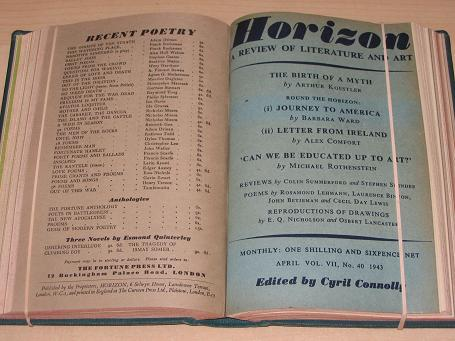 HORIZON magazine, Volume 7, January, February, March, April, May, June 1943 issues for sale. BETJEMA