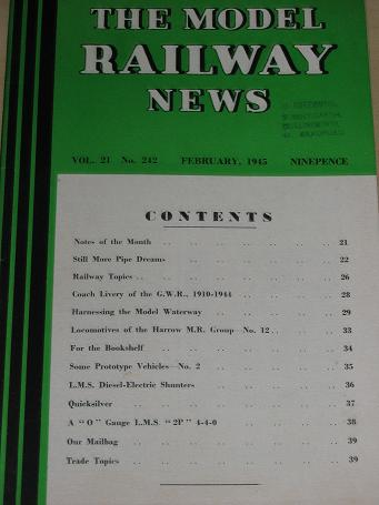 THE MODEL RAILWAY NEWS magazine, February 1945 issue for sale. Vintage HOBBIES, TRAINS publication.