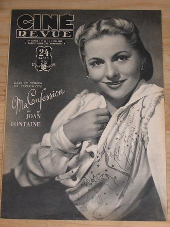 CINE REVUE MAG 4 APRIL 1947 JOAN FONTAINE FORD VINTAGE MOVIE PUBLICATION FOR SALE CLASSIC IMAGES OF