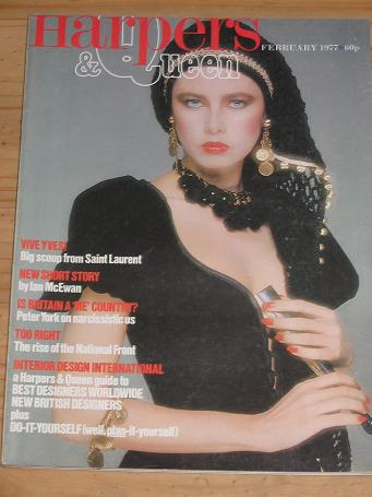 HARPERS AND QUEEN MAG FEB 1977 SAINT LAURENT MCEWAN YORK VINTAGE FASHION LIFESTYLE PUBLICATION FOR S