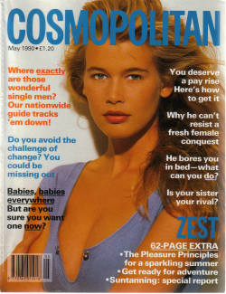 COSMOPOLITAN MAY 1990 CLAUDIA SCHIFFER HANNAH VINTAGE FASHION BEAUTY