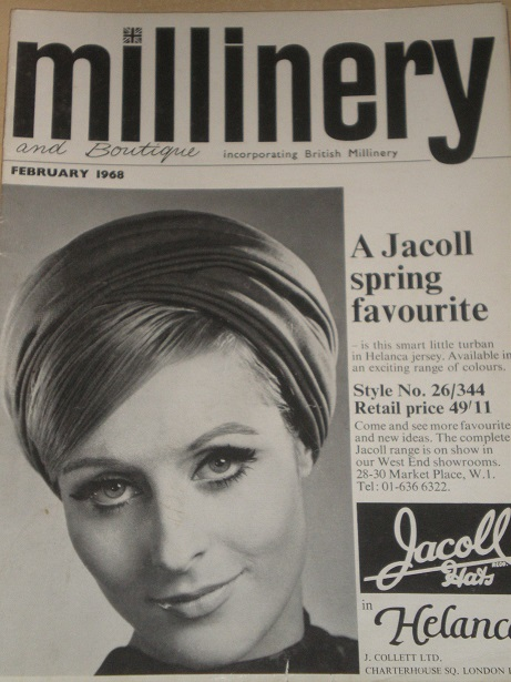 MILLINERY AND BOUTIQUE magazine, February 1968 issue for sale. HATS, FASHION. Original BRITISH publi
