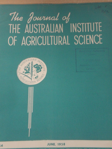 THE JOURNAL OF THE AUSTRALIAN INSTITUTE OF AGRICULTURAL SCIENCE, June 1958 issue for sale. Original