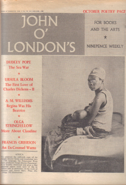 JOHN O LONDON'S MAG 27 OCT 1960 URSULA BLOOM DICKENS POPE VINTAGE PUBLICATION FOR SALE