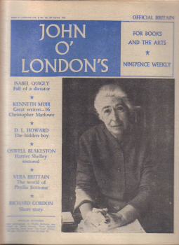 JOHN O LONDONS MAG 18 JAN 1962 RICHARD GORDON VERA BRITTAIN VINTAGE PUBLICATION FOR SALE