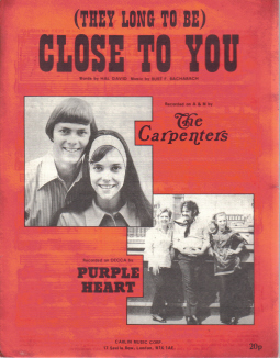 CARPENTERS PURPLE HEART CLOSE TO YOU 1970'S ORIGINAL VINTAGE SHEET MUSIC
