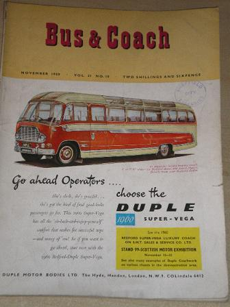 BUS AND COACH magazine, November 1959 issue for sale. Original British publication from Tilley, Ches