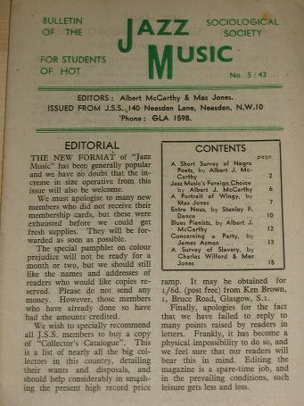 JAZZ MUSIC bulletin, Number 5 / 43 for sale. 1943 JAZZ SOCIOLOGICAL SOCIETY publication. Scarce publ