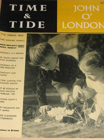TIME AND TIDE magazine, 7 - 13 March 1963. Vintage British NEWS WEEKLY publication. Classic images o