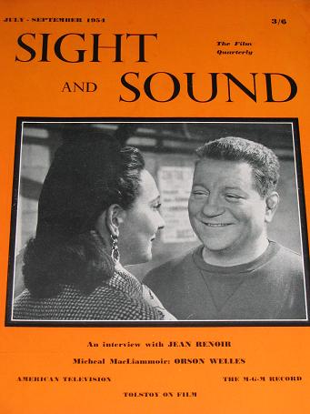 SIGHT AND SOUND magazine, July - September 1954 issue for sale. JEAN GABIN, ARLETTY. Tilleys, Cheste