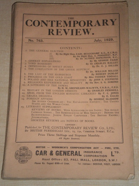 THE CONTEMPORARY REVIEW, July 1929 issue for sale.  Original BRITISH publication from Tilley, Cheste