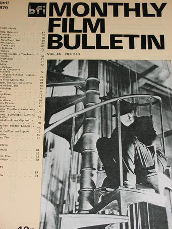 MONTHLY FILM BULLETIN, April 1979 issue for sale. Original BRITISH FILM INSTITUTE publication from T