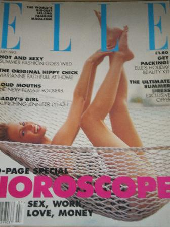 ELLE magazine, July 1993 issue for sale. MARIANNE FAITHFULL. Original UK FASHION publication from Ti