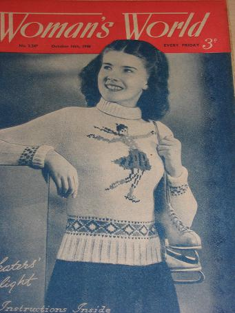 WOMANS WORLD magazine, October 16 1948 issue for sale. KNITTING, FICTION, COOKERY, FASHION, HOME. Vi