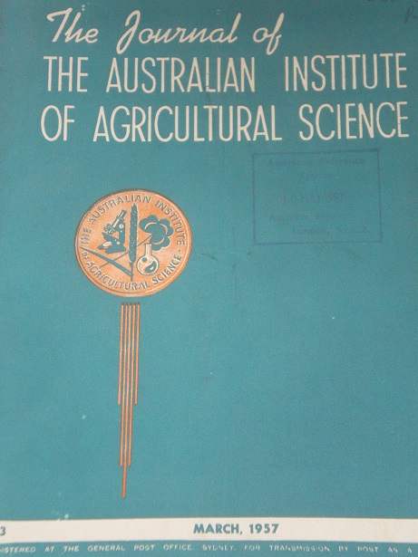 THE JOURNAL OF THE AUSTRALIAN INSTITUTE OF AGRICULTURAL SCIENCE, March 1957 issue for sale. Original