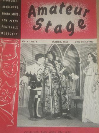 The AMATEUR STAGE magazine, March 1951 issue for sale. STAGECRAFT, NEWS, VIEWS, COMING EVENTS, NEW P