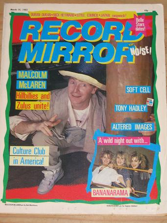 RECORD MIRROR MARCH 19 1983 BACK ISSUE McLAREN BANANARAMA FOR SALE ORIGINAL VINTAGE POP MUSIC PUBLIC