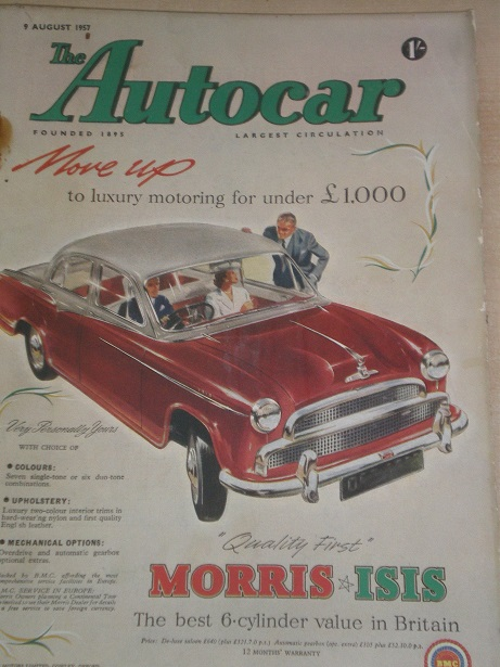 AUTOCAR magazine, 9 August 1957 issue for sale. Original BRITISH MOTORING publication from Tilley, C