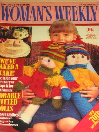WOMANS WEEKLY magazine, 7 November 1981 issue for sale. KNITTING, FICTION, COOKERY, FASHION, HOME. V
