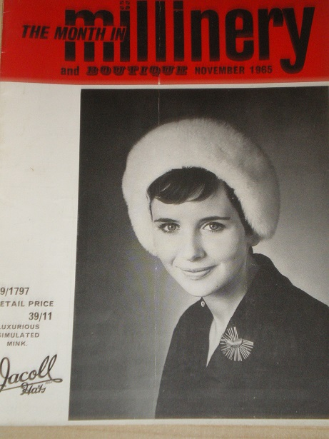 MILLINERY AND BOUTIQUE magazine, November 1965 issue for sale. HATS, FASHION. Original BRITISH publi