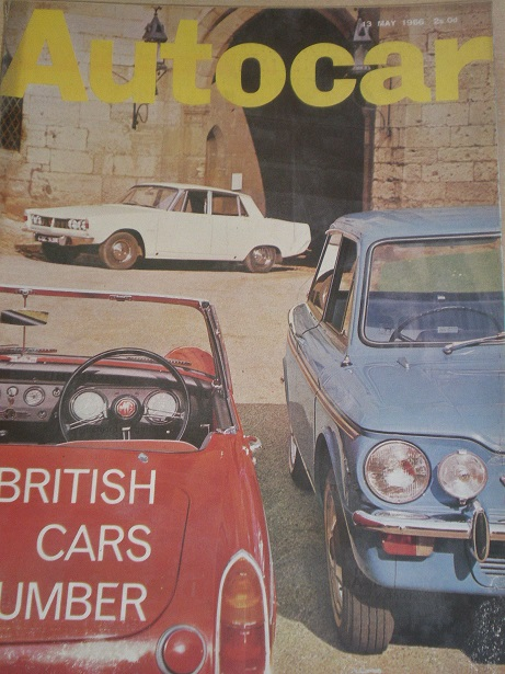 AUTOCAR magazine, 13 May 1966 issue for sale. Original BRITISH MOTORING publication from Tilley, Che
