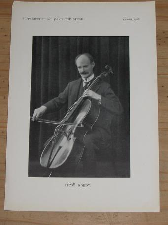 ORIGINAL OCTOBER 1928 STRAD MAGAZINE SUPPLEMENT PHOTO DEZSO KORDY FOR SALE PURE NOSTALGIA ARCHIVES C