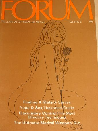 FORUM magazine, Volume 4 Number 8 issue for sale. 1971 ADULT, SEXUAL RELATIONS publication. Classic