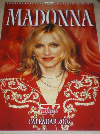 MADONNA TV TIMES CALENDAR 2002 for sale. Original gifts from Tilleys, Chesterfield, Derbyshire, UK,