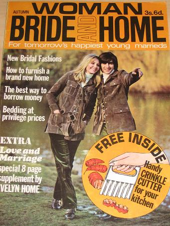 WOMAN BRIDE AND HOME magazine, Autumn 1970 issue for sale. Vintage WEDDING, FASHION, BEAUTY publicat