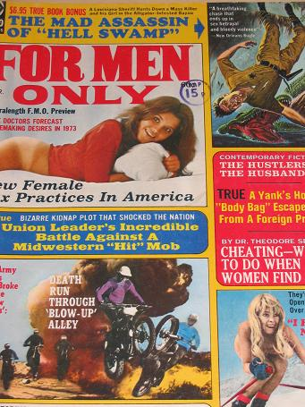 FOR MEN ONLY magazine, March 1973 issue for sale. Vintage PULP ART, PIN-UPS, ADVENTURE, STORIES, MEN