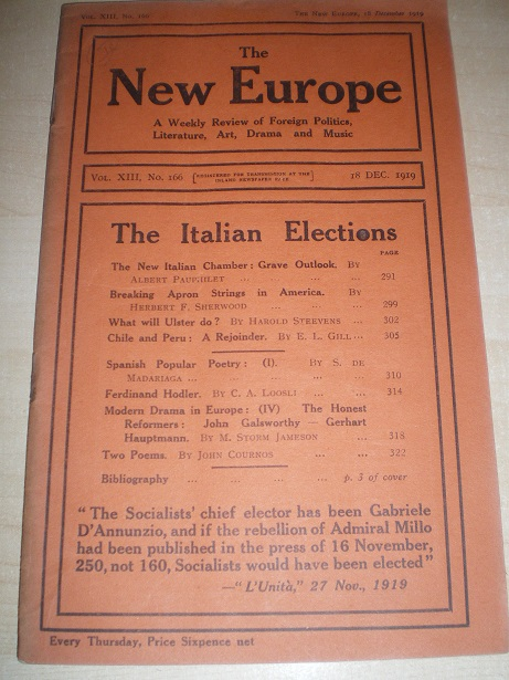 THE NEW EUROPE magazine, 18 December 1919 issue for sale. Original British publication from Tilley,