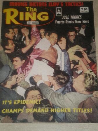 THE RING, July - August 1965 issue for sale. JOSE TORRES. Original British SPORT, BOXING publication
