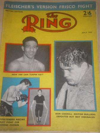 The RING magazine, July 1955 issue for sale. Original British BOXING publication from Tilley, Cheste