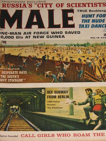 MALE magazine, October 1963 issue for sale. Vintage PULP ART, PIN-UPS, ADVENTURE, STORIES, MENS publ
