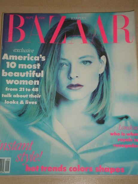 HARPERS BAZAAR magazine, September 1989 issue for sale. JODIE FOSTER, FAYE DUNAWAY, WHITNEY HOUSTON,