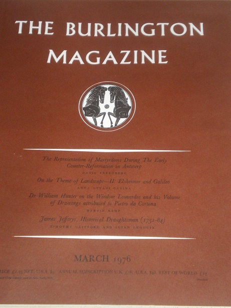THE BURLINGTON MAGAZINE, March 1976 issue for sale. FINE ART, DECORATIVE ART. Original British acade