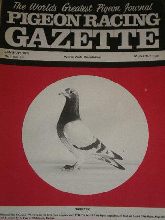 PIGEON RACING GAZETTE, January 1978 issue for sale. Original publication from Tilleys, Chesterfield,