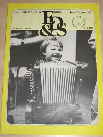 ENGLISH DANCE AND SONG magazine, Volume 49 Number 1 issue for sale. 1987 FOLK MUSIC, DANCE publicati