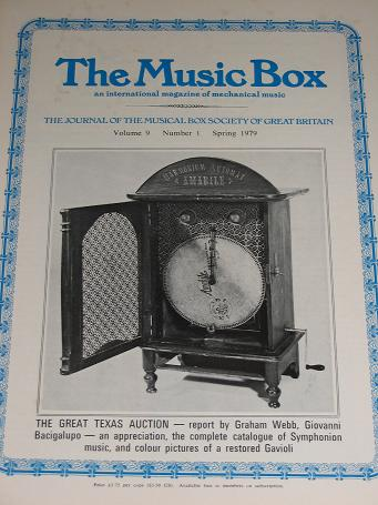 The MUSIC BOX magazine, Volume 9 Number 1 issue for sale, Spring 1979. Vintage MECHANICAL MUSIC INST
