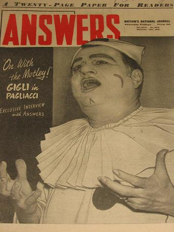 ANSWERS magazine, December 14 1946 issue for sale. Vintage STORIES, HUMOUR publication. Classic imag