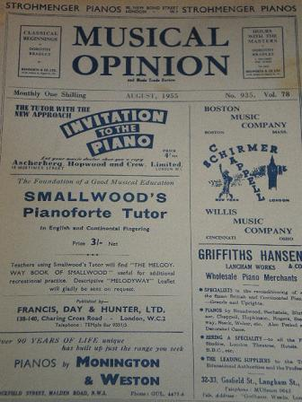MUSICAL OPINION magazine, August 1955 issue for sale. Original UK publication from Tilley, Chesterfi