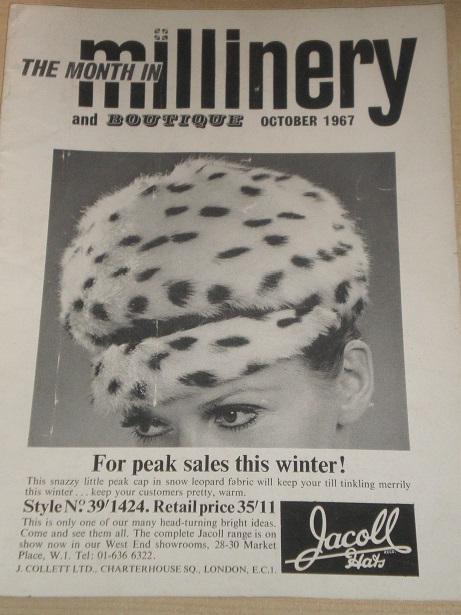 MILLINERY AND BOUTIQUE magazine, October 1967 issue for sale. HATS, FASHION. Original BRITISH public