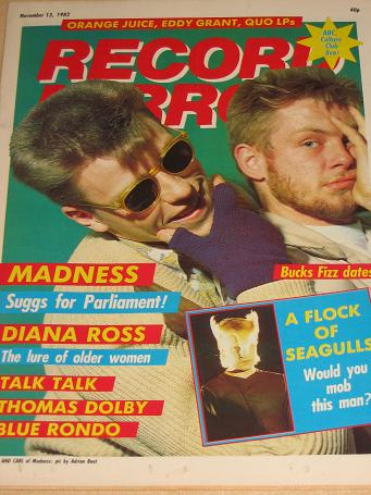 RECORD MIRROR magazine November 13 1982. SUGGS, CARL, MADNESS. Vintage BRITISH TEEN, POP MUSIC publi