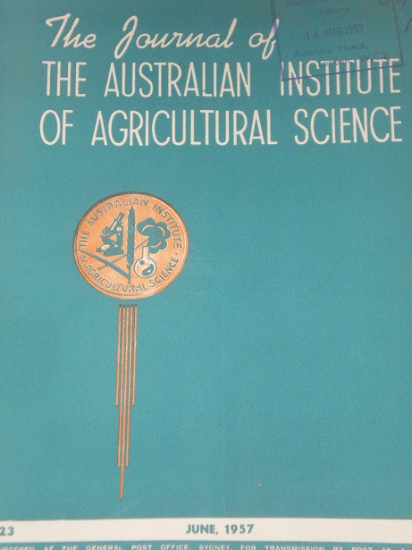 THE JOURNAL OF THE AUSTRALIAN INSTITUTE OF AGRICULTURAL SCIENCE, June 1957 issue for sale. Original